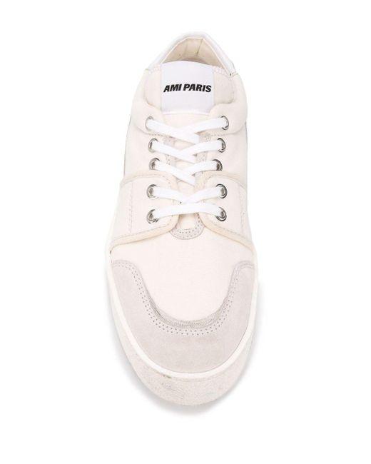 メンズ AMI ロゴ ローカットスニーカー White