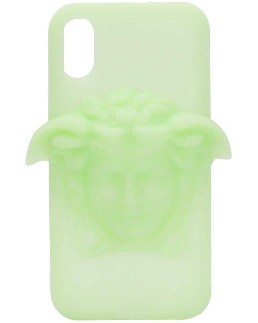 Funda para iPhone X Medusa Versace de hombre de color Green