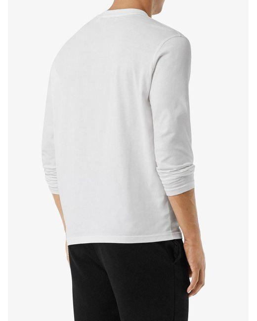 メンズ Burberry モノグラムモチーフ ロングtシャツ White