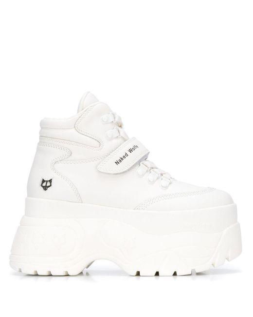 Naked Wolfe Sneakers Met Plateauzool in het White