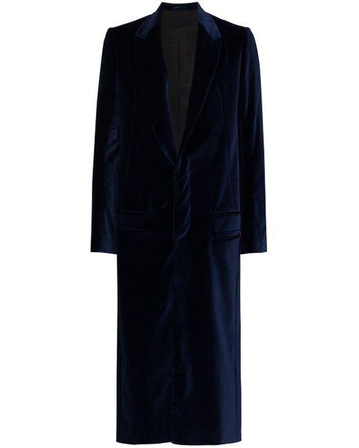 Haider Ackermann Blue Single-breasted Velvet Coat for men