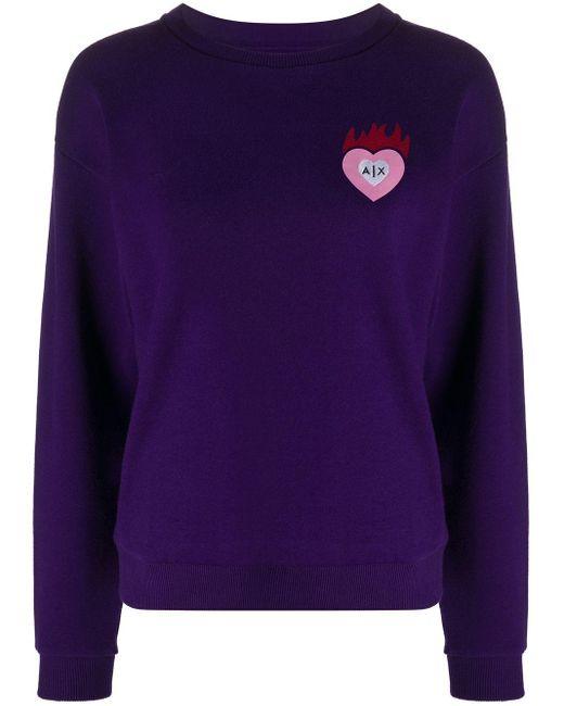 Armani Exchange ハート ロゴ スウェットシャツ Purple