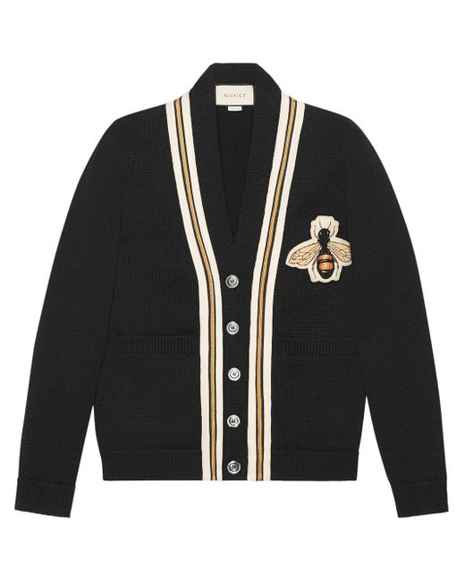 Gucci Black Wool Cardigan With Bee Appliqué for men
