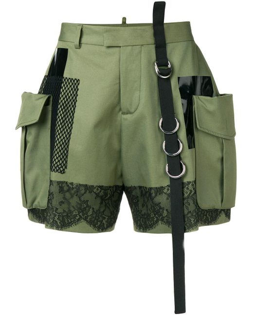 DSquared² Green High-waisted Cargo Shorts
