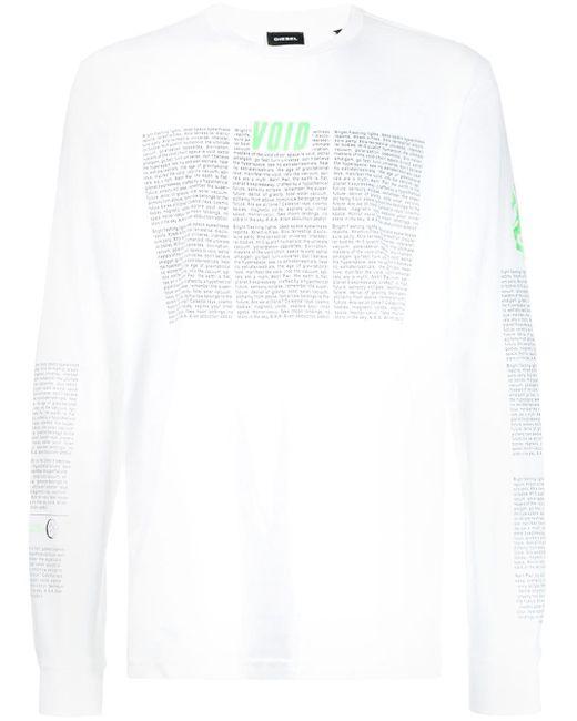 メンズ DIESEL プリント ロングtシャツ White