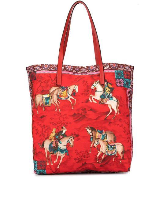 Shanghai Tang Mongolian Horsemen トートバッグ Red