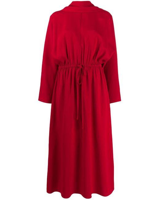 Valentino Red Scarf Detail Midi Dress
