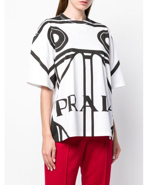 T-shirt oversize con stampa di Prada in White