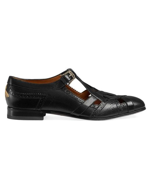 Gucci | Black Leather Brogue Shoe With Cut-out Detail for Men | Lyst