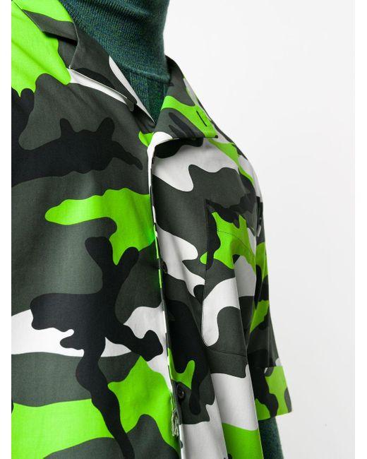 メンズ Valentino カモフラージュ ボウリングシャツ Green