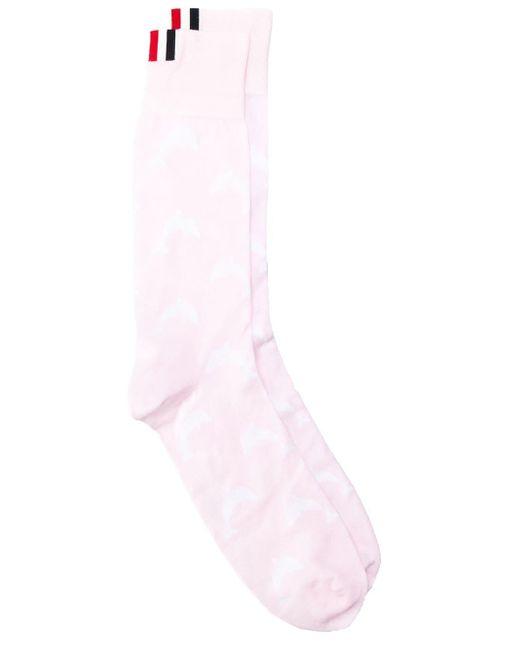 メンズ Thom Browne ライトピンク ドルフィンアイコンインターシャ ミッドカーフソックス Pink