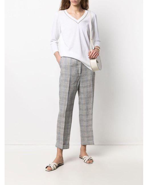 Jersey con cuello en V y detalles Fabiana Filippi de color White