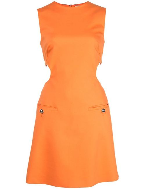Sara Battaglia カットアウト ドレス Orange