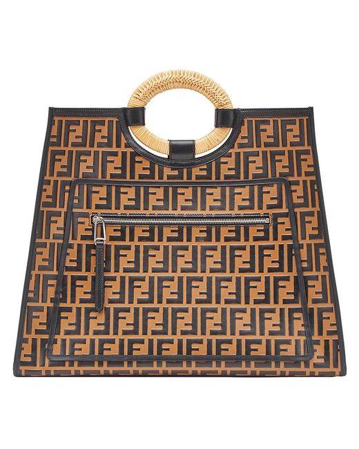 c5d248633cf4 Lyst - Fendi Runaway Shopper Tote in Brown - Save 39%
