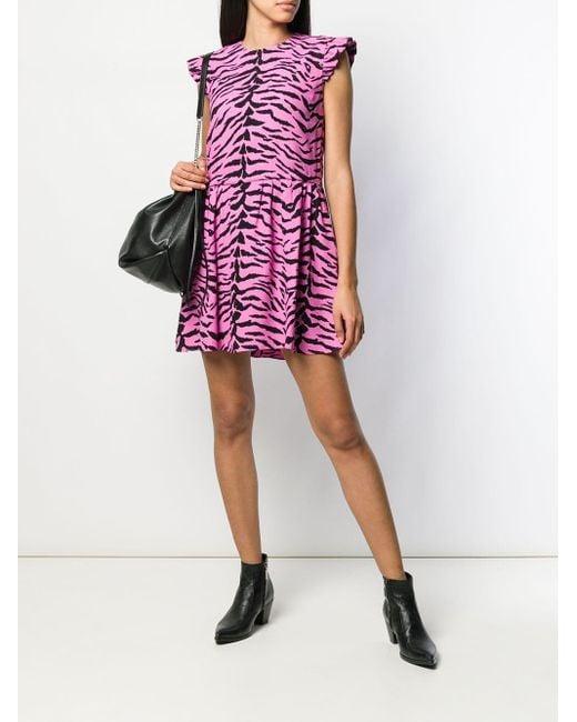 Saint Laurent シルク ゼブラプリント ドレス Pink