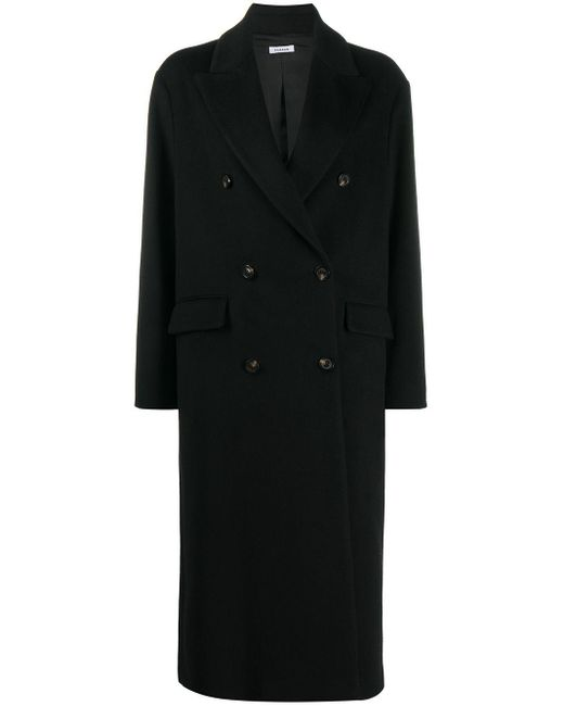 P.A.R.O.S.H. Black Doppelreihiger Oversized-Mantel