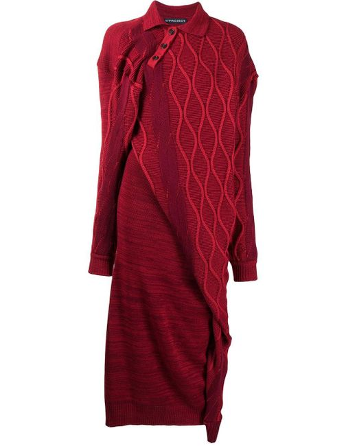 Y. Project Red Asymmetric Knit Dress
