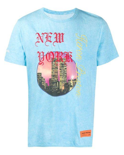 メンズ Heron Preston New York Tシャツ Blue