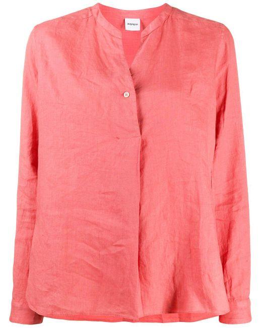 Aspesi バンドカラー シャツ Pink