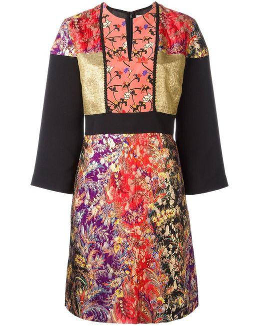 Etro フローラルジャカードドレス Multicolor