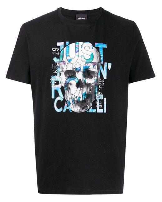メンズ Just Cavalli スカル Tシャツ Black