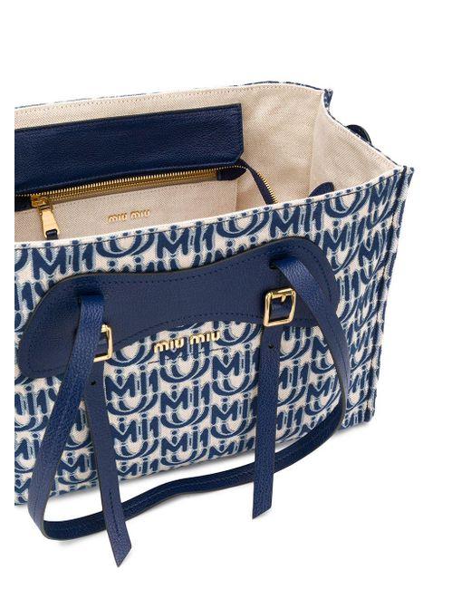 Bolso shopper con estereograma Miu Miu de color Blue