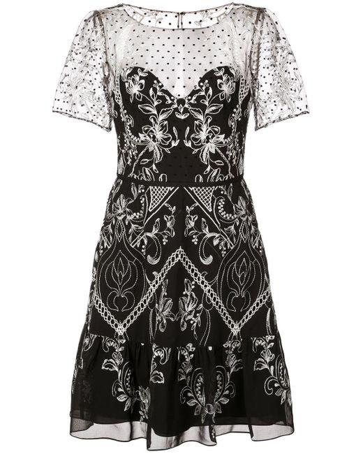 Короткое Платье С Вышивкой Marchesa notte, цвет: Black