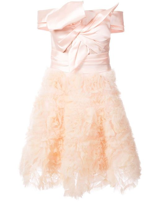 Frill-embroidered dress Marchesa notte en coloris Pink