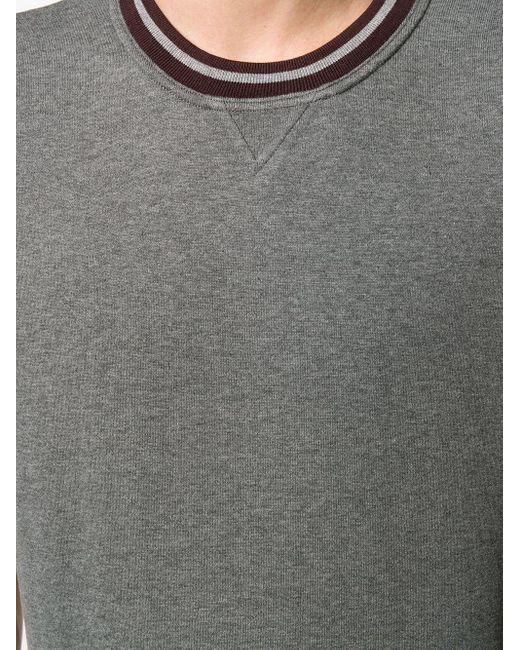 T-shirt ajusté à bords rayés Eleventy pour homme en coloris Gray