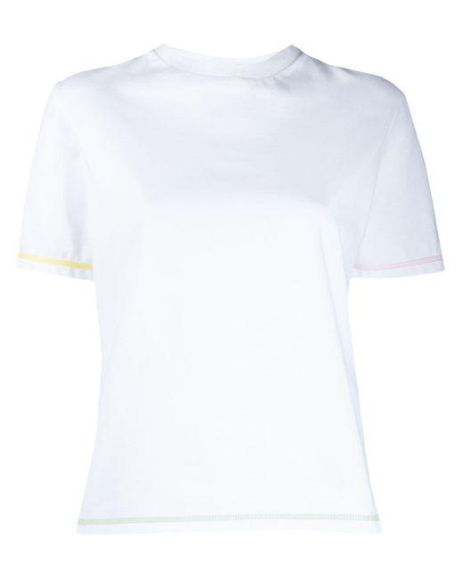 Thom Browne ホワイト ミッドウェイトジャージー コントラストステッチ ショートスリーブt White