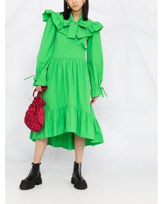 Платье Миди С Оборками MSGM, цвет: Green