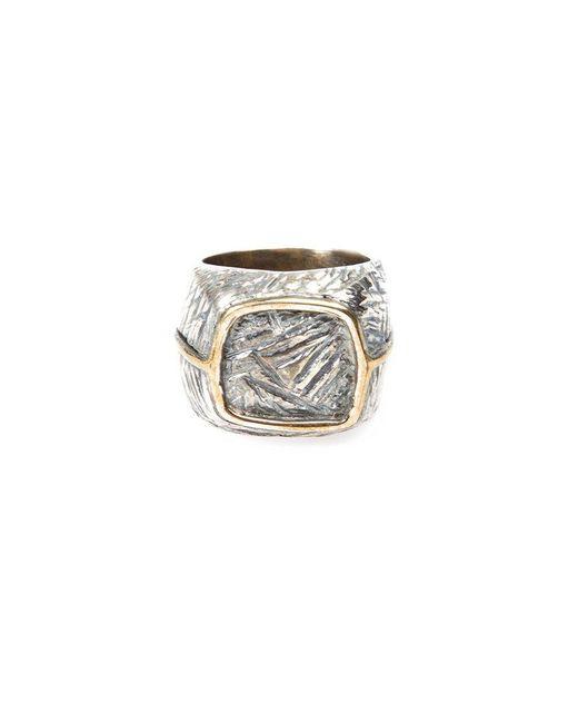Tobias Wistisen - Metallic Eckiger Ring aus Bronze und Silber for Men - Lyst