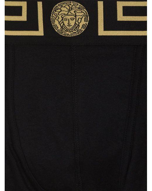 メンズ Versace グレカウエスト ボクサーパンツ Black
