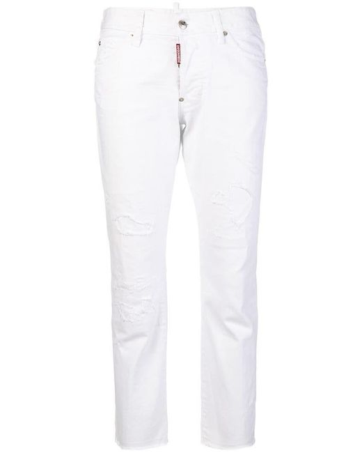 DSquared² - White Distressed Cropped Jeans - Lyst