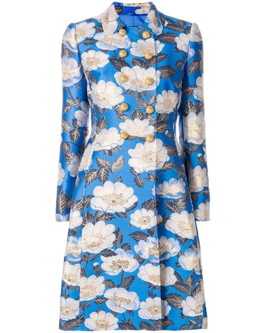 Dolce & Gabbana Blue Floral Double Breasted Jacquard Coat