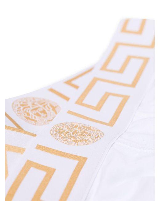 メンズ Versace グレカ ブリーフセット White