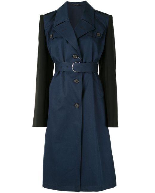 Cappotto bicolore con cintura di Maison Margiela in Blue