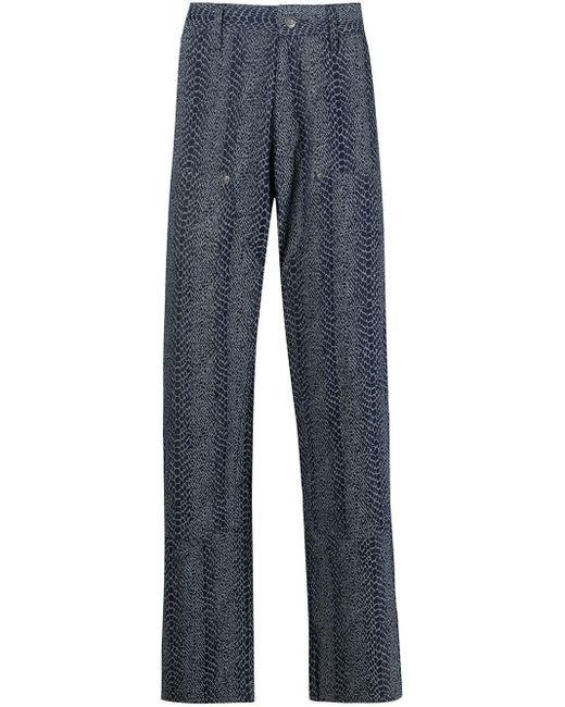 メンズ Chinatown Market スネークパターン ストレートジーンズ Blue