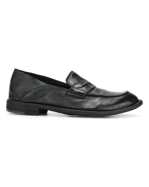 Officine Creative - Black Distressed Penny Loafers for Men - Lyst