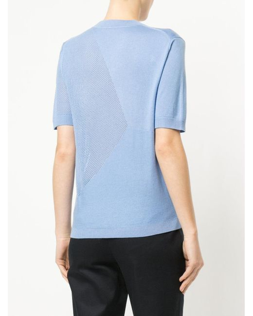 503d37ce ... Jil Sander Navy - Blue Panelled Knitted T-shirt - Lyst