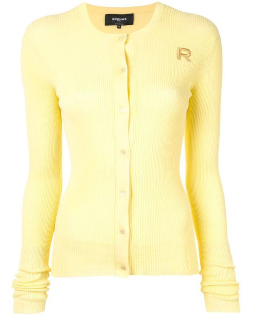 Rochas リブニット カーディガン Yellow