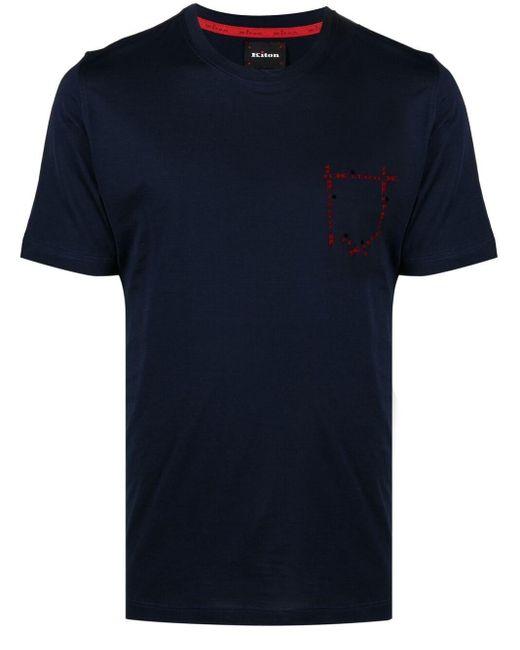 Kiton T-Shirt mit Logo-Print in Blue für Herren
