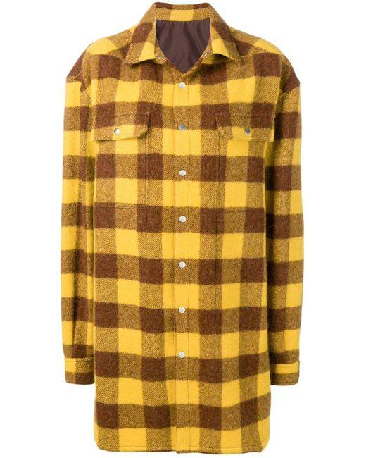 Rick Owens チェック オーバーサイズ シャツ Yellow