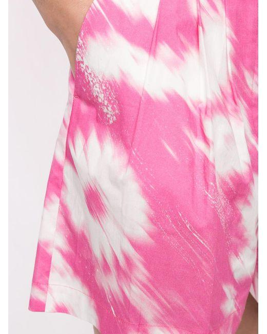 Шорты С Принтом И Поясом MSGM, цвет: Pink