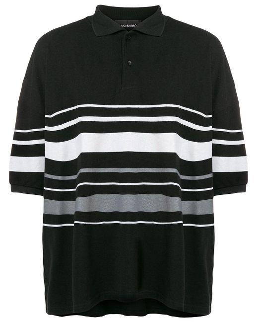 Yuiki Shimoji Black Oversize Striped Polo Shirt