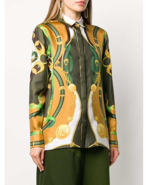 "Versace Green Hemd mit ""Barocco Rodeo""-Print"