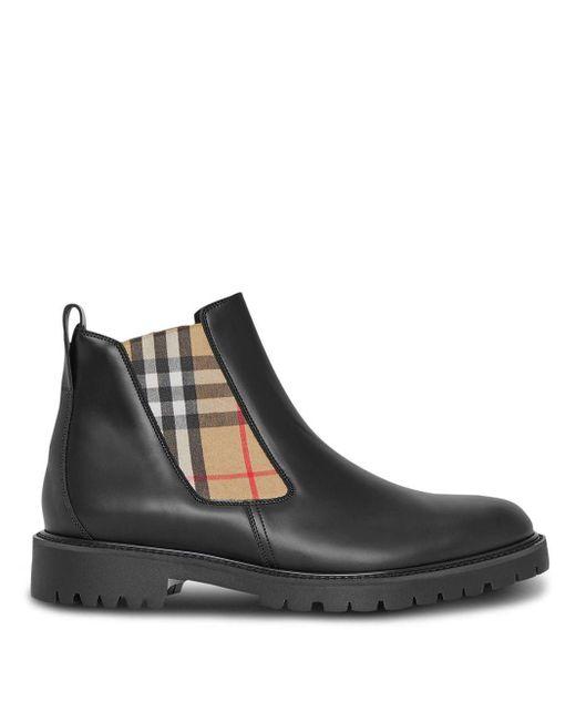 Ботинки Челси Со Вставками В Клетку Vintage Check Burberry для него, цвет: Black