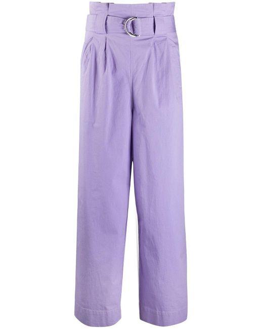 Ganni Pantalones rectos de mujer de color morado