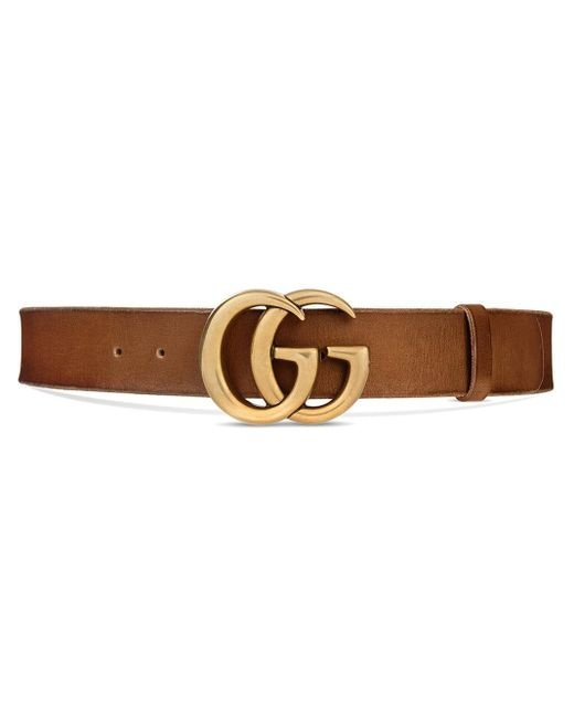 Gucci Brown Leather Belt With Double G Buckle