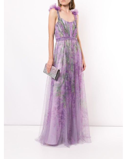 Marchesa notte フローラル チュールドレス Purple
